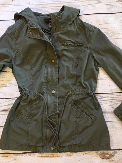forever 21 khaki green hooded utility jacket S