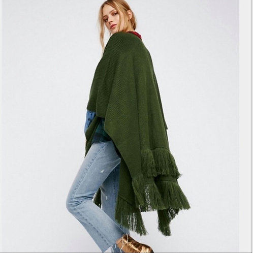 NEW! $188 free people green SOLSTICE fringed kimono sweater
