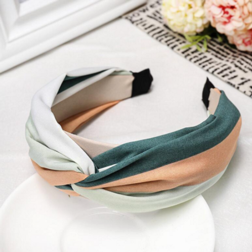 green/pink/mint stripe knotted headband