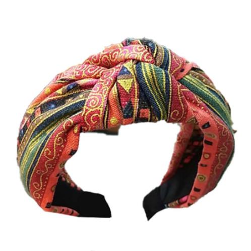 pink cotton aztec print knot headband turban