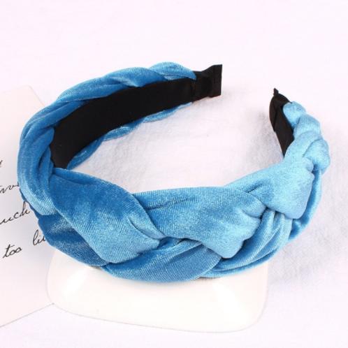 cerulean blue velvet braided headband crown