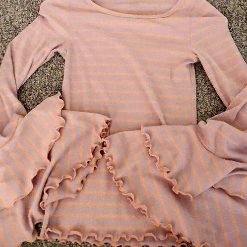 free people lilac striped SUPER frilly bell sleeve top