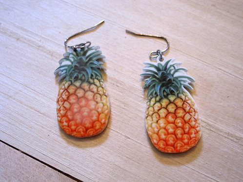 photgraphic lightweight pineapple print earrings