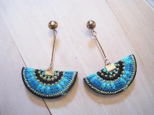 turquoise handmade threaded fan drop earrings