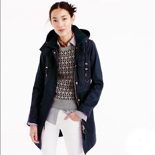 j.crew $188 coated hooded downtown field jacket in navy blue S