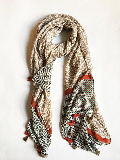 mixed media floral orange tassel scarf