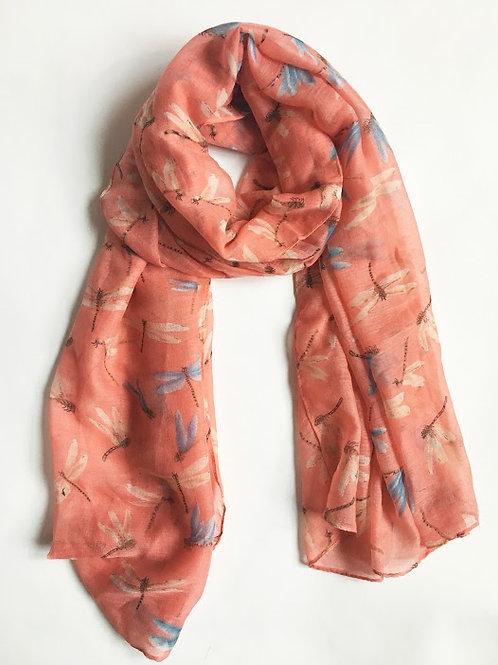 peach dragonfly print scarf