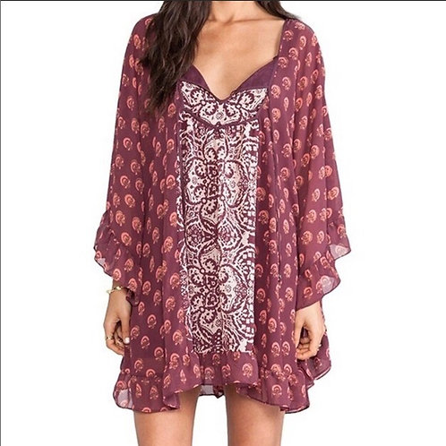 free people marla dreams berry butterfly cape dress S