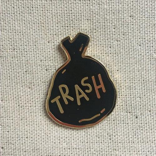 """hilarious literal """"trash"""" bag enamel pin"""