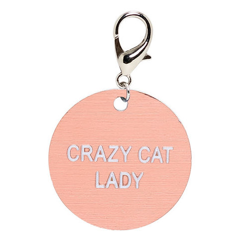 crazy cat lady rose gold key tag