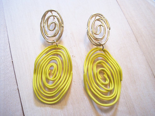 80's pop art yellow spiral statement earrings