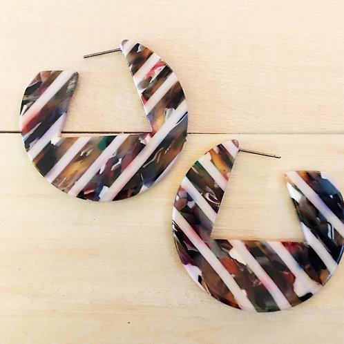 80's power boss striped resin circle earrings