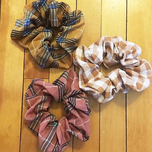 set of 3 plaid scrunchies