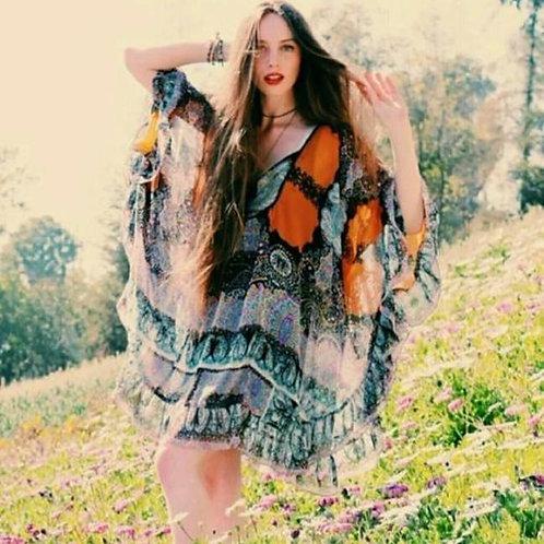free people marla dreams orange butterfly cape dress S