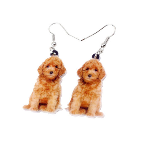 labradoodle puppy dog printed earrings