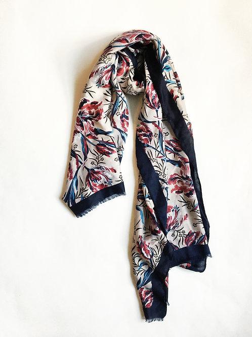 navy blue & burgundy floral print scarf