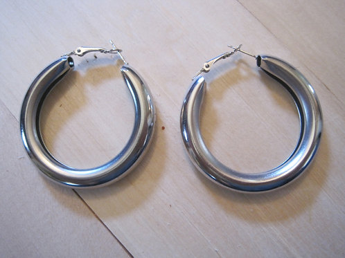 80's super thick chunky silver hoop earrings