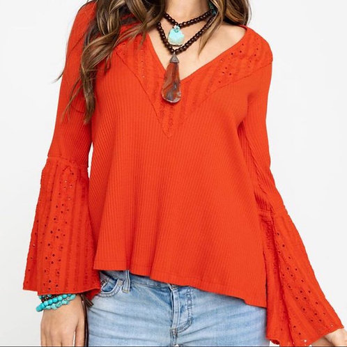 NEW! $88 free people parisian nights coral orange bell sleeve blouse S