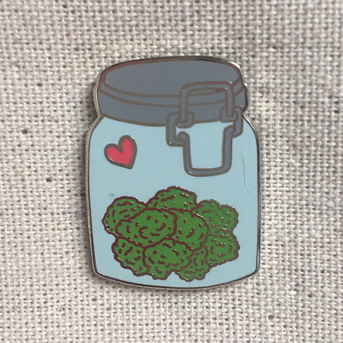 heart weed in a jar enamel pin