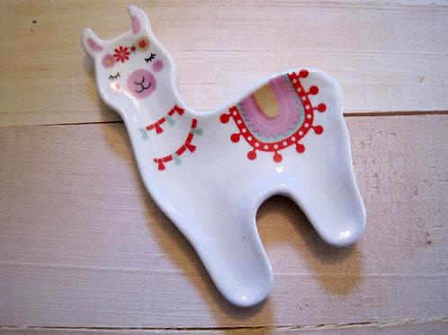 ceramic festive llama tassel trinket jewelry dish