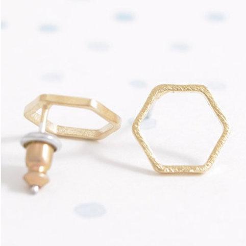 minimalist gold hexagon silhouette earrings