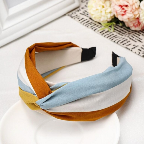 sky blue/burnt sienna/white stripe knotted headband