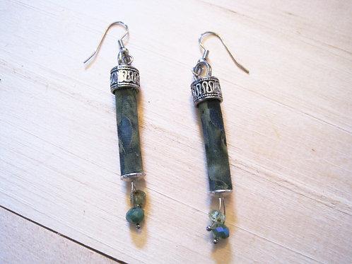 locally handmade green fabric column earrings
