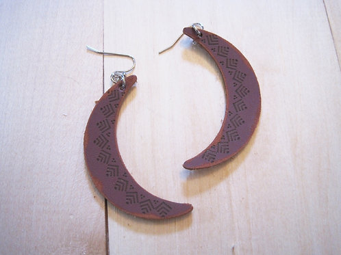 eather crescent moon hand stamped brown copper earrings