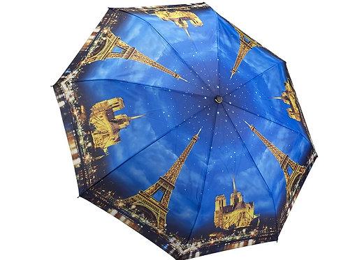 paris cityscape at night foldable umbrella