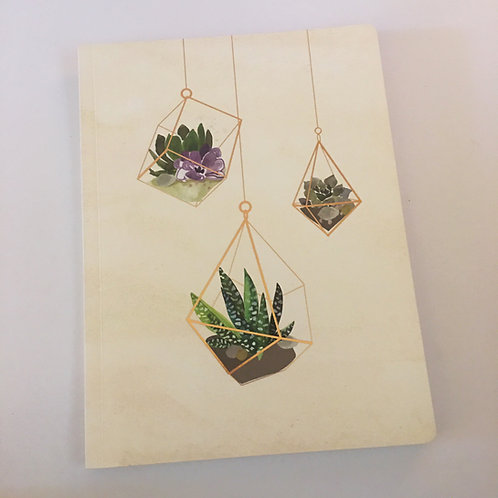 terrarium succulent plant foil printed notebook journal