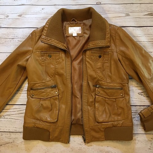 target mustard yellow gold faux leather bomber jacket L