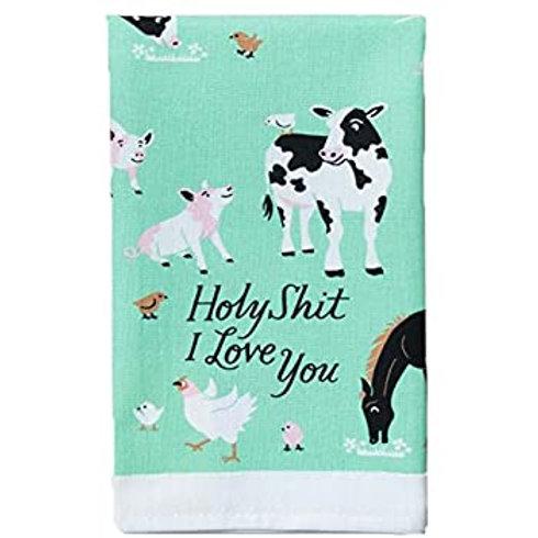 mint green holy shit i love you farm animals cow pig dish towel