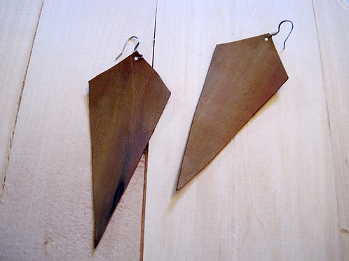 handmade leather geometric cutout arrow earrings