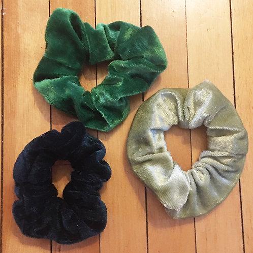 set of 3 velvet shades of green scrunchies