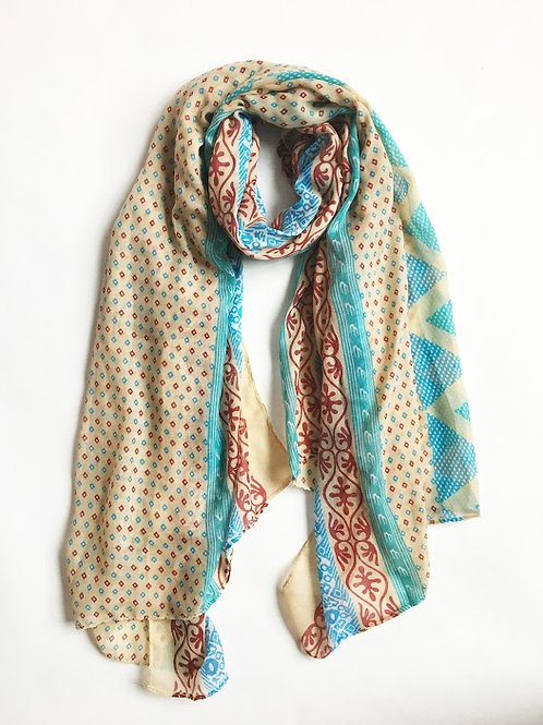 geo print mixed media scarf