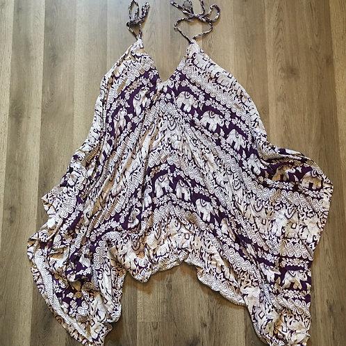 purple boho batik elephant print strappy romper playsuit M