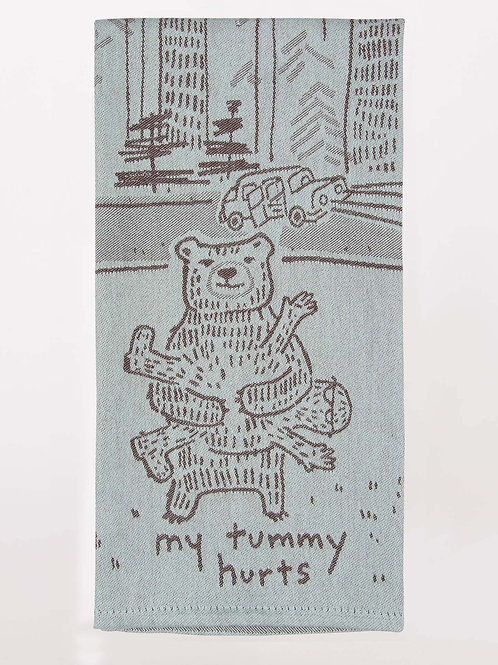 my tummy hurts bear camping dish towel