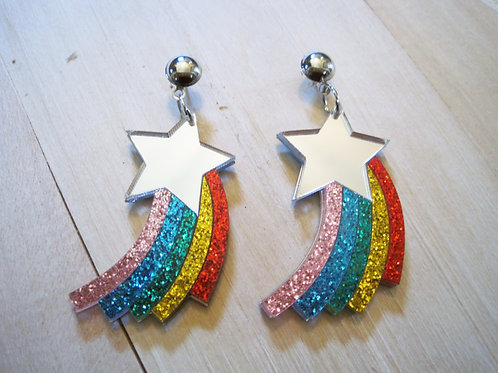 mirror rainbow shooting star glitter earrings