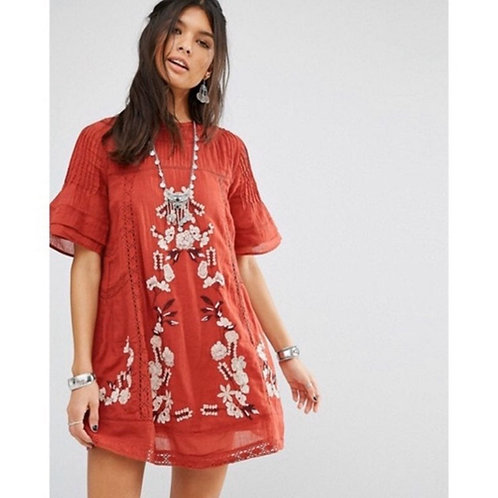 free people $168 perfectly victorian boho embroidered mini dress S