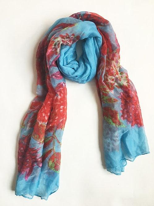 blue floral zinnia garden party scarf