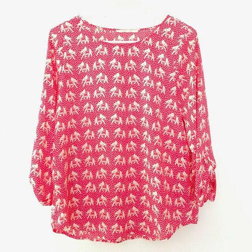 anthro pixley pink elephant tunic blouse S