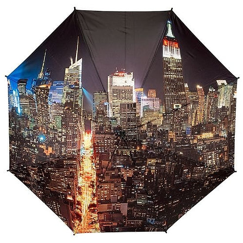 manhattan new york city scape at night foldable umbrella