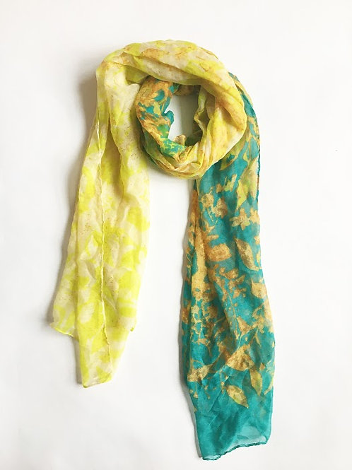 lemon & lime abstract painting scarf