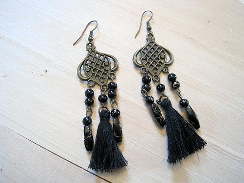 boho black lantern tassel moroccan chandelier earrings