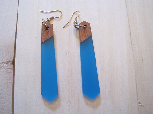 opaque blue wood and resin geometric drop earrings