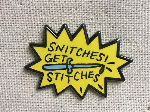 snitches get stitches enamel pin