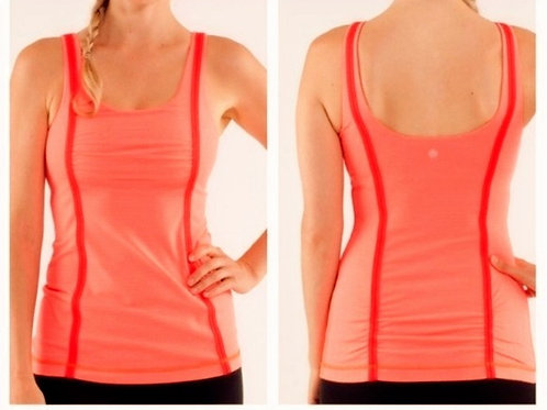 lululemon wholehearted striped NEON orange & red striped tank M 8