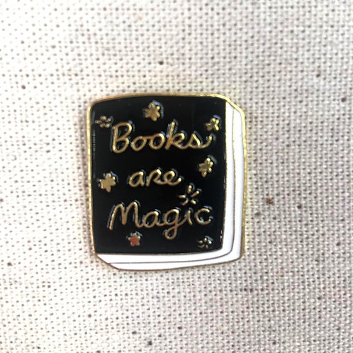 books are magic script enamel pin