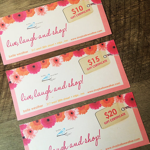 $20 belle weather gift certificate