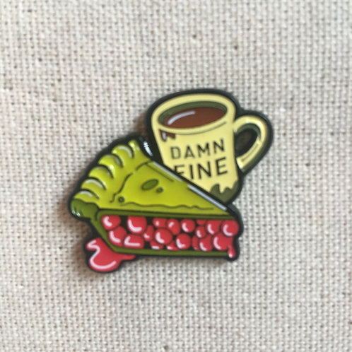 damn fine coffee & pie enamel pin